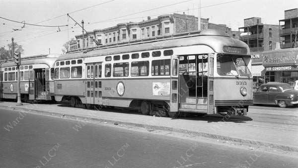 MTA PCC Car #3313 at Cleveland Circle, May 20, 1955
