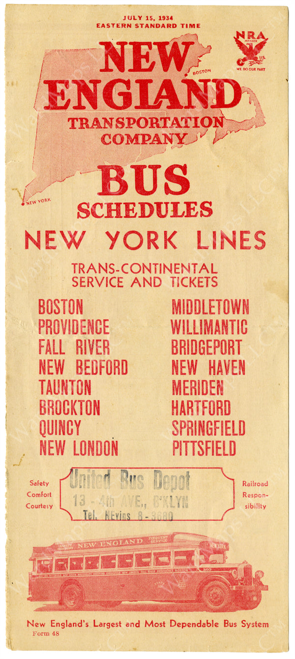New England Transportation Co. Schedule Cover 1934