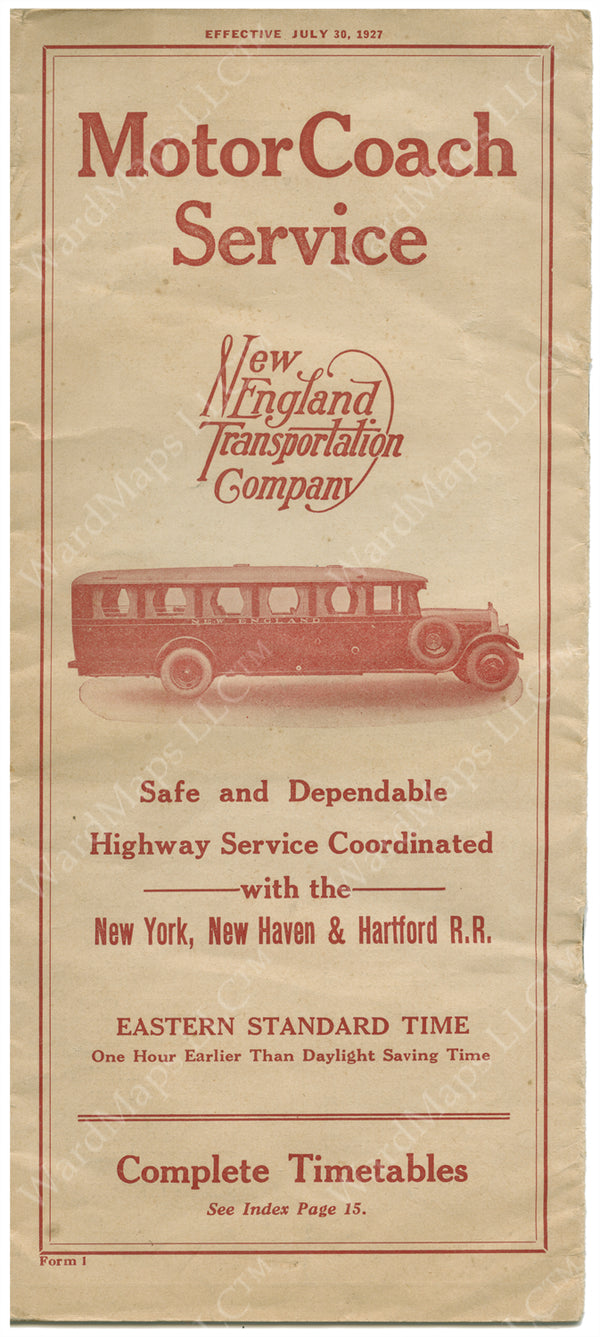 New England Transportation Co. Brochure Cover 1927