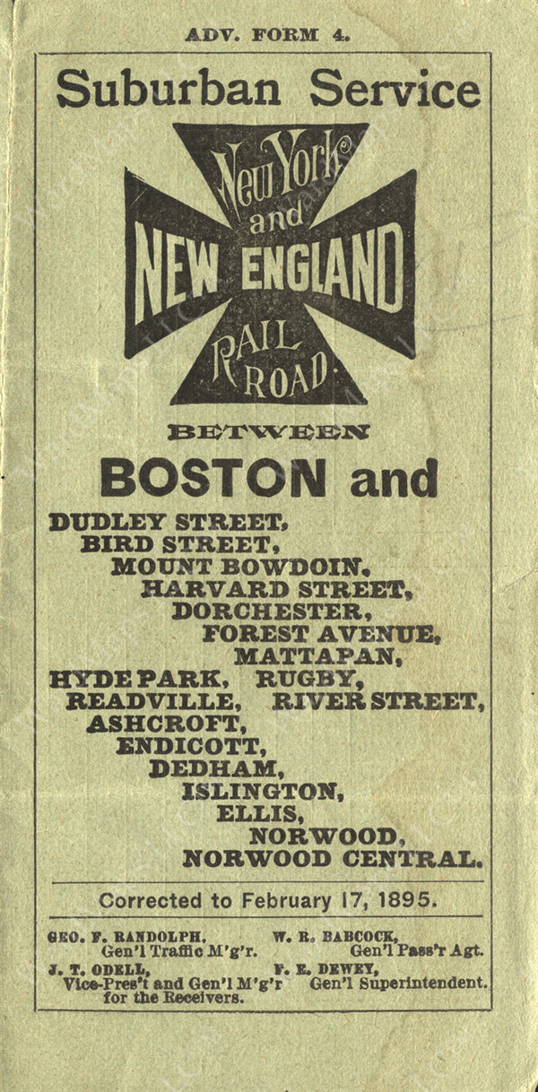 New York & New England Railroad Timetable Cover 1895