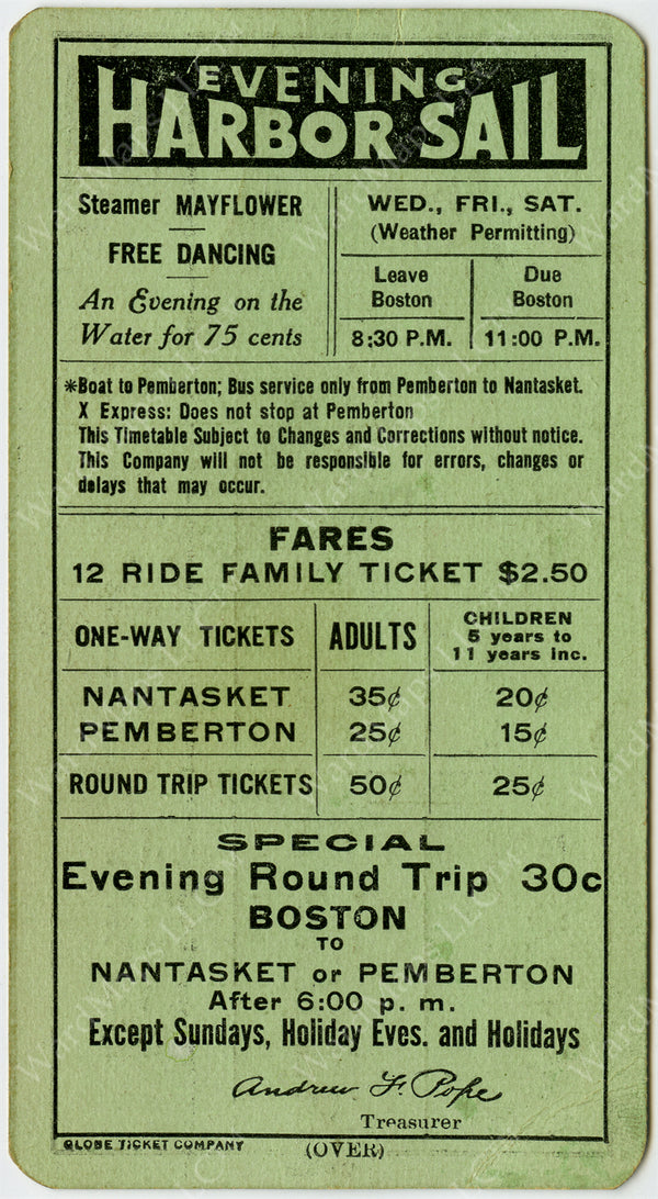 Nantasket Steamboat Co. Schedule Card (Side B) 1934