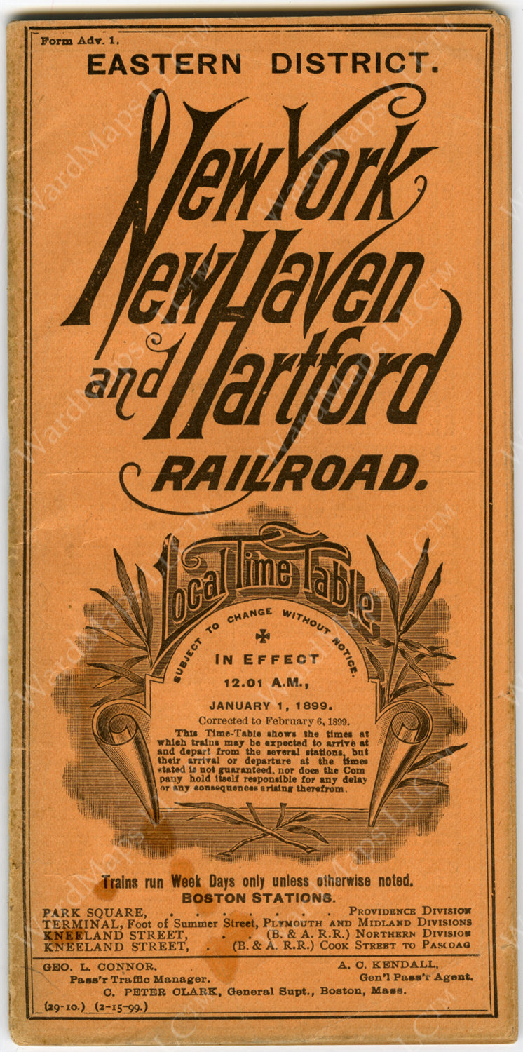 New Haven Railroad Eastern District Timetable Cover 1899