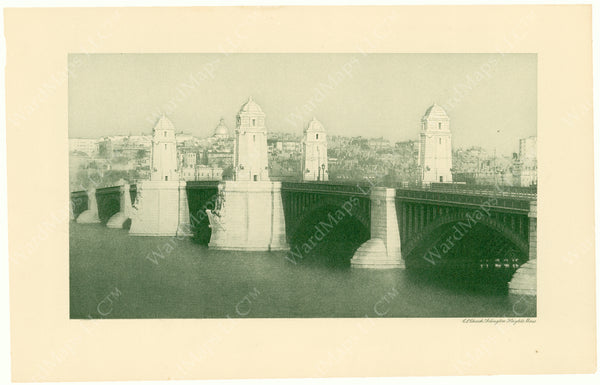 Cambridge Bridge Commission Report 1909: Completed Bridge with State House Dome