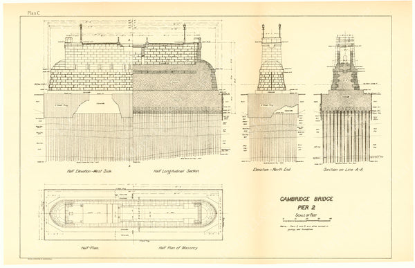 Cambridge Bridge Commission Report 1909 Plan C: Pier 2