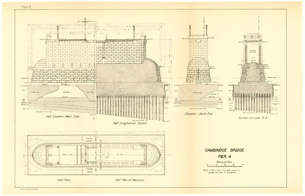 Cambridge Bridge Commission Report 1909 Plan E: Pier 4