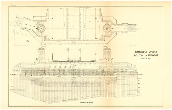 Cambridge Bridge Commission Report 1909 Plan H: Boston Abutment