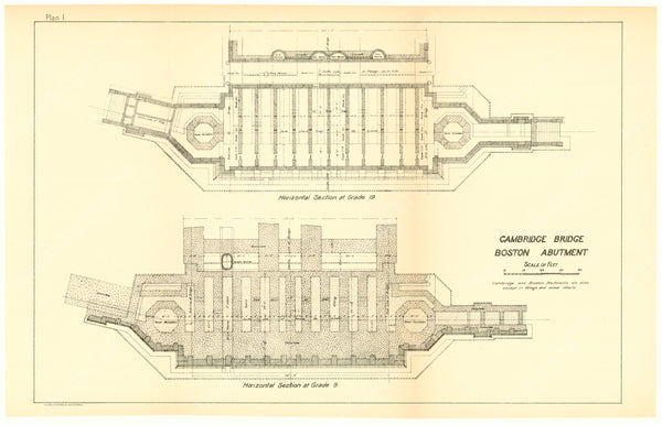 Cambridge Bridge Commission Report 1909 Plan I: Boston Abutment