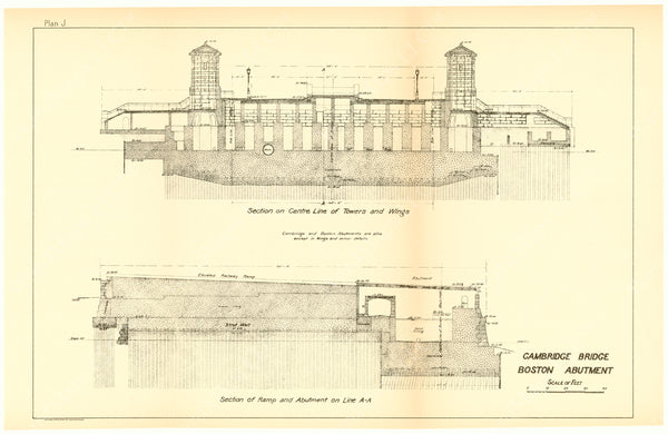 Cambridge Bridge Commission Report 1909 Plan J: Boston Abutment