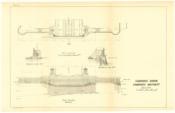 Cambridge Bridge Commission Report 1909 Plan K: Cambridge Abutment
