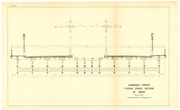 Cambridge Bridge Commission Report 1909 Plan M: Typical Cross Section of Spans