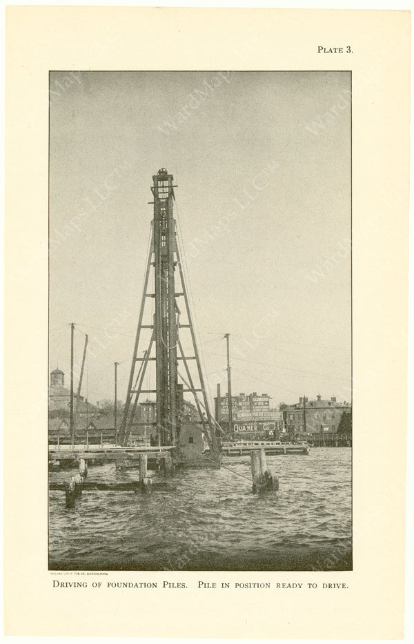 Cambridge Bridge Commission Report 1909 Plate 03: Driving Foundation Piles