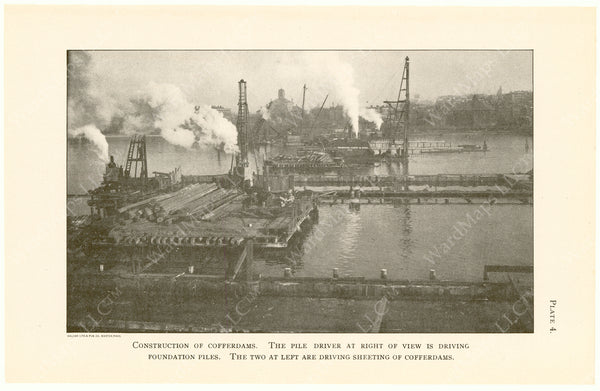 Cambridge Bridge Commission Report 1909 Plate 04: Construction of Cofferdams