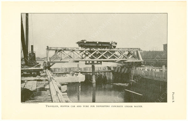 Cambridge Bridge Commission Report 1909 Plate 08: Traveler, Hopper Car, and Tube