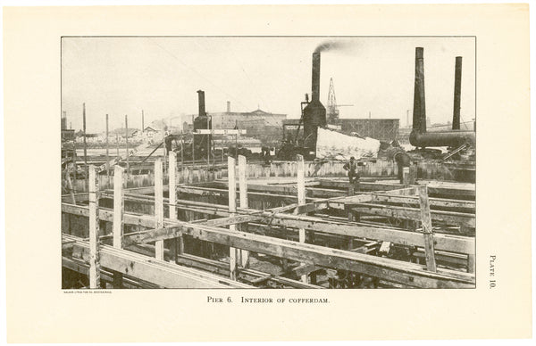 Cambridge Bridge Commission Report 1909 Plate 10: Pier 6 Interior of Cofferdam