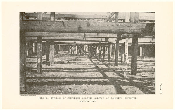 Cambridge Bridge Commission Report 1909 Plate 11: Pier 6 Interior of Cofferdam