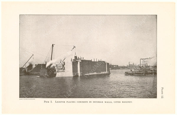 Cambridge Bridge Commission Report 1909 Plate 12: Pier 5 Placing of Concrete
