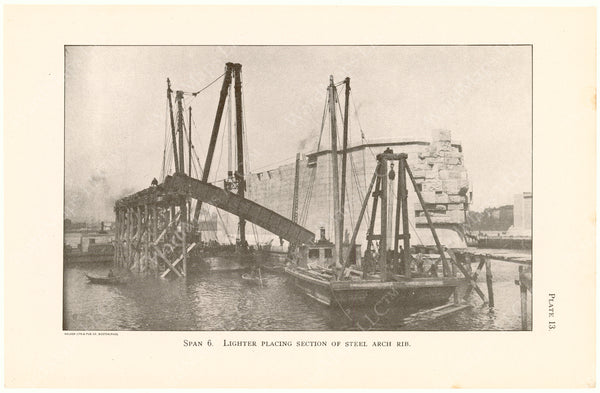 Cambridge Bridge Commission Report 1909 Plate 13: Span 6 Placing Steel