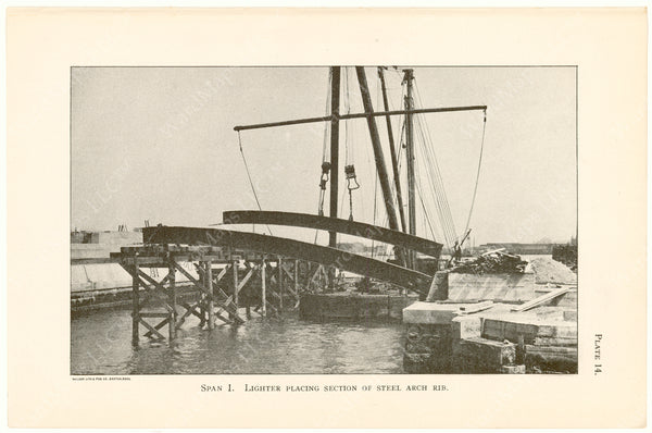 Cambridge Bridge Commission Report 1909 Plate 14: Span 1 Placing Steel
