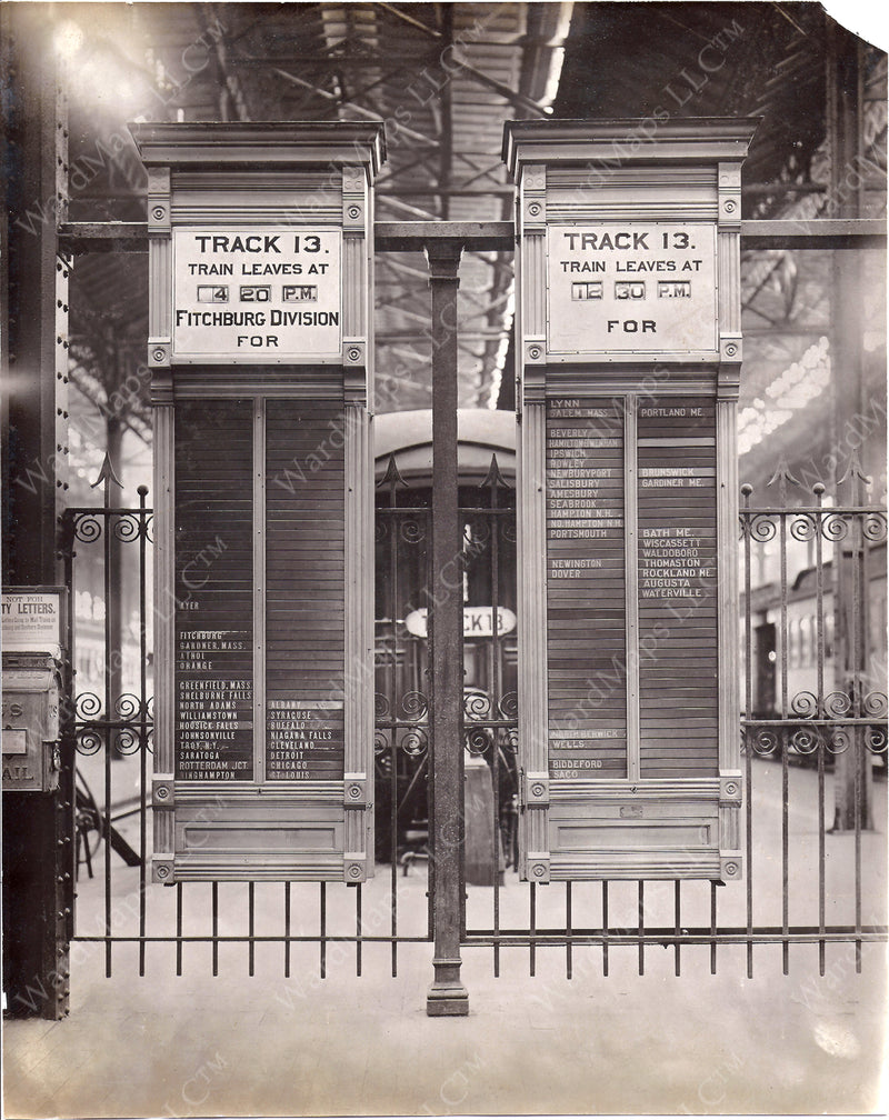 Boston (North) Union Station Track 13 Departure Boards 1914