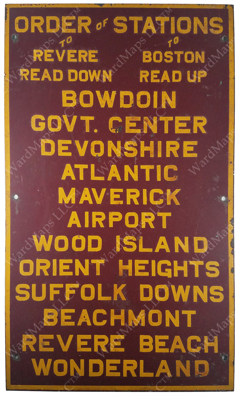 East Boston Tunnel Order of Stations Sign Circa 1963