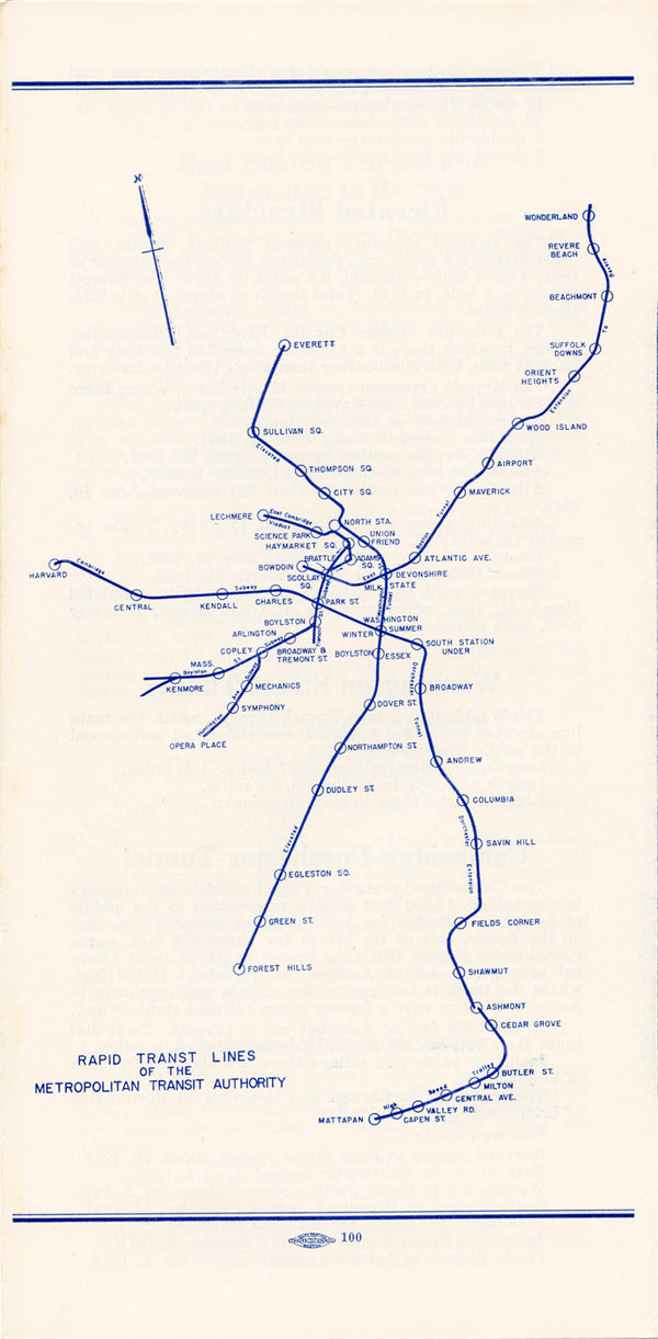 MTA Rapid Transit System Pamphlet Map 1957