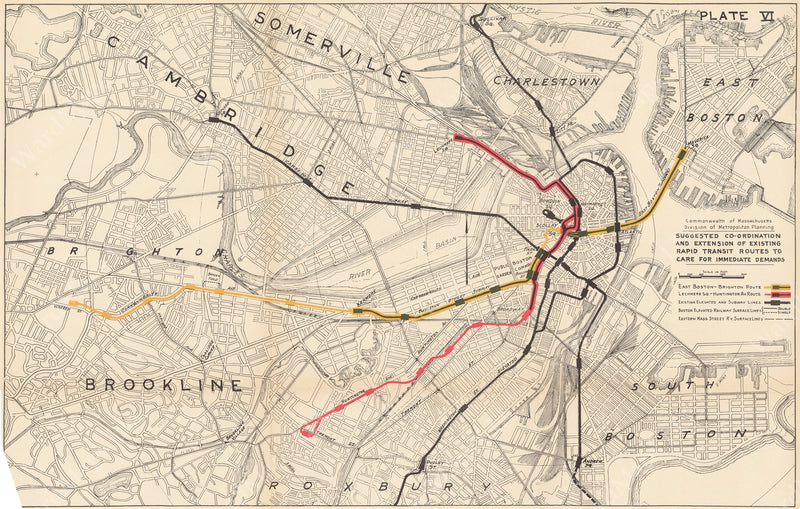 Plate 006: Proposed Rapid Transit Improvements for Boston 1926