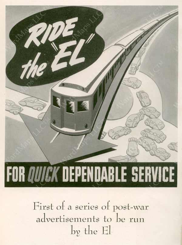 "Boston ""Ride the EL for Quick Dependable Service"" Print Ad 1946"
