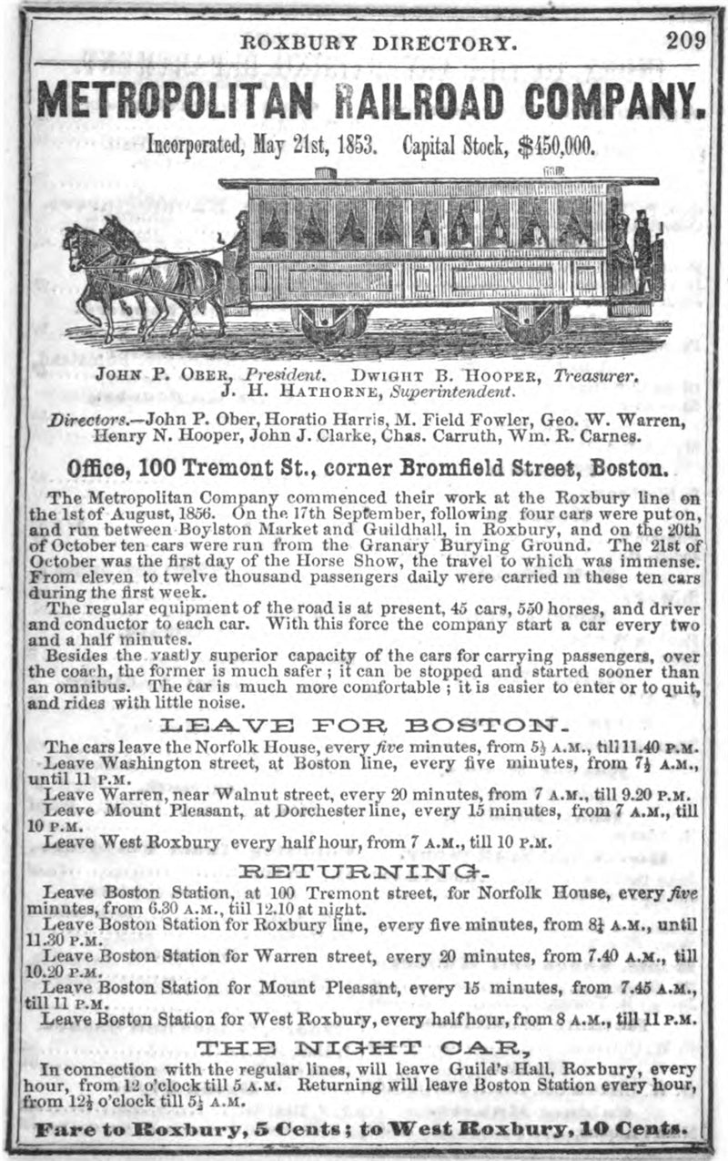 Metropolitan Railroad Advertisement 1858