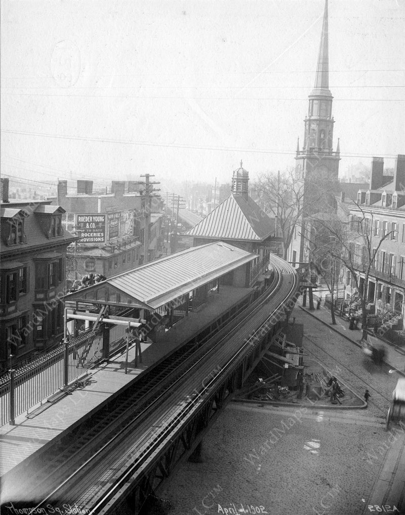 Thompson Square Station, Charlestown, April 1, 1902