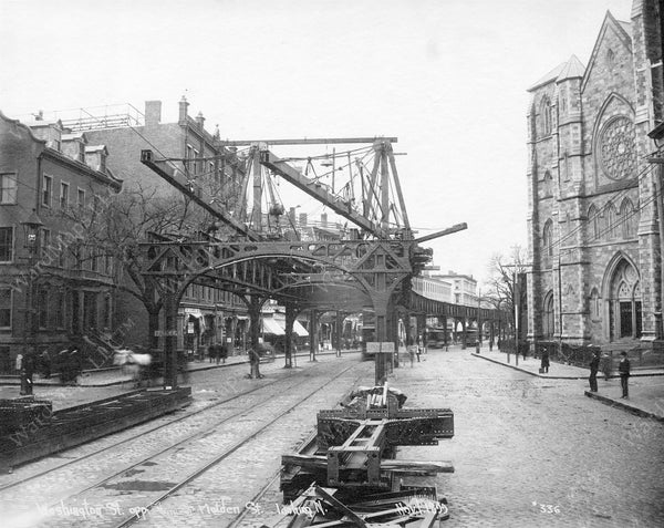 Erecting the Washington Street Elevated, Boston's South End, November 1, 1899