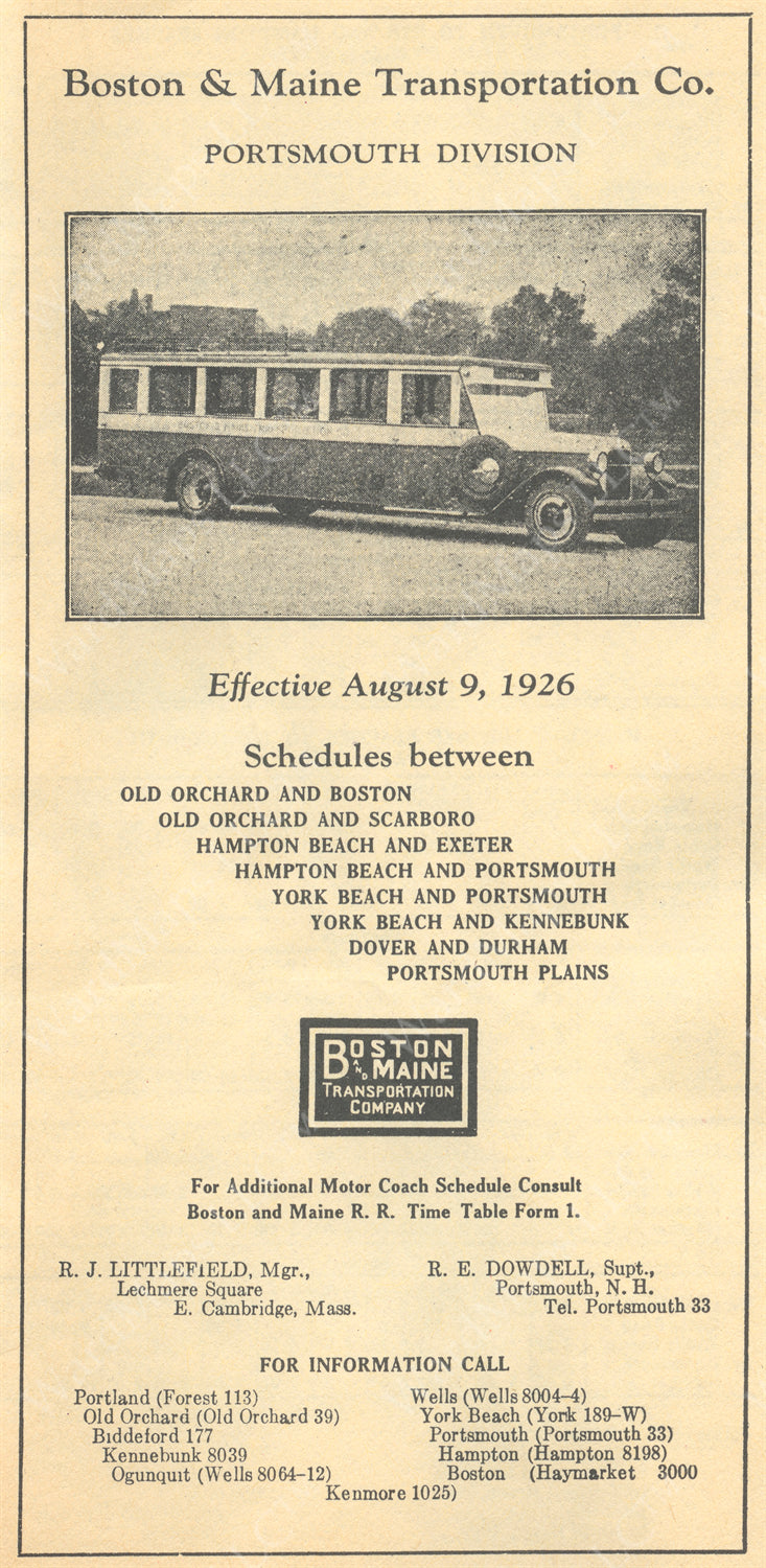 Boston & Maine Transportation Co. Motor Coach Timetable 1926