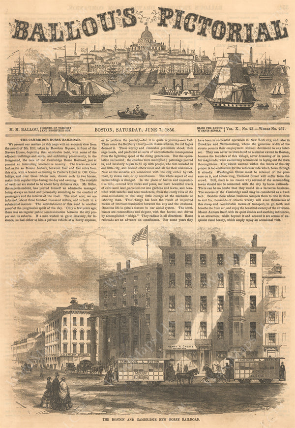 Ballou's Pictorial, June 7, 1856: Front Page