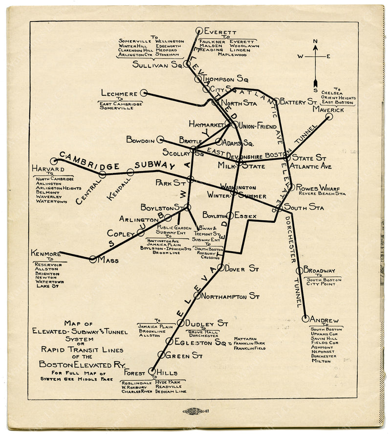 Boston Elevated Railway Rapid Transit Lines 1924