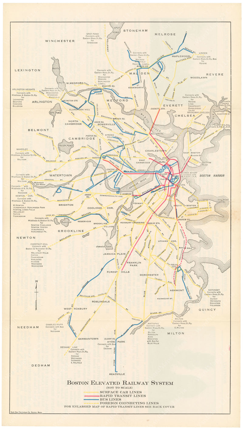 Boston Elevated Railway Guide Map 1926