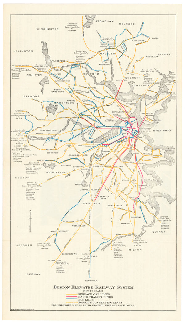 Boston Elevated Railway Guide Map 1927