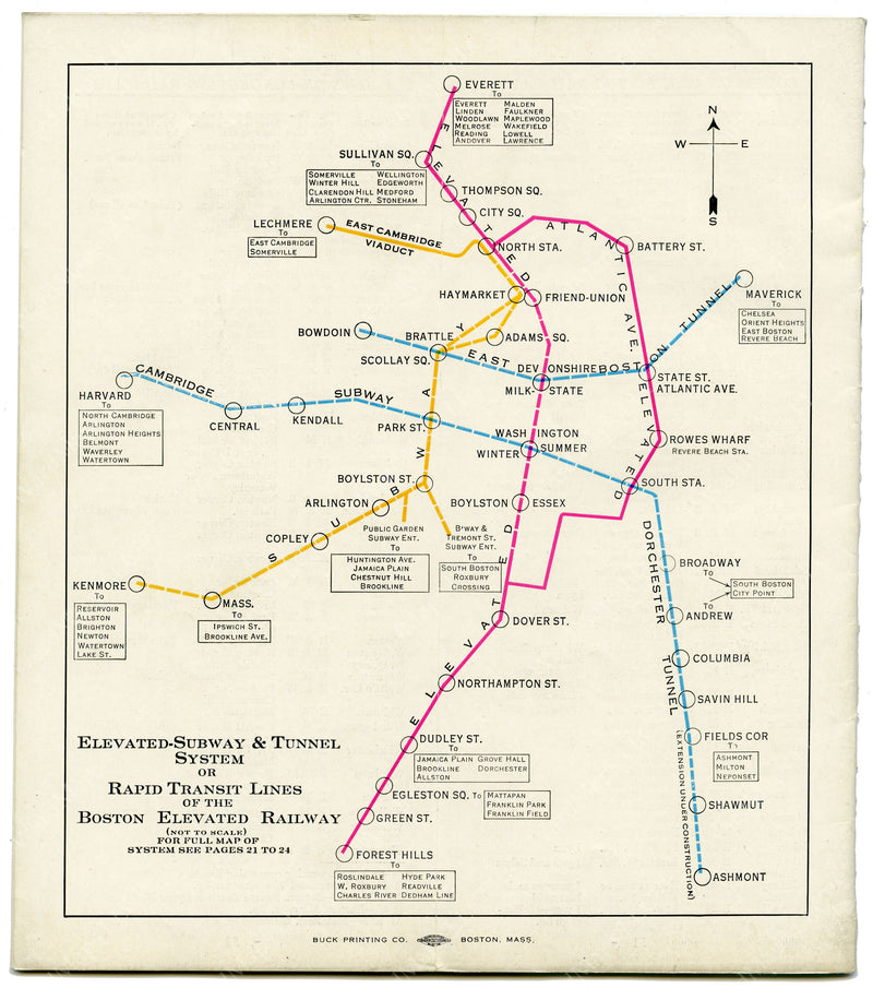 Boston Elevated Railway Rapid Transit Lines 1927