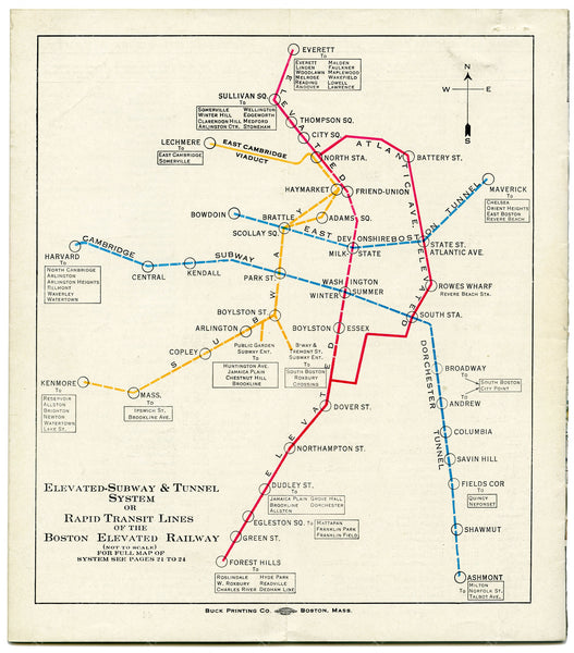 Boston Elevated Railway Rapid Transit Lines 1928
