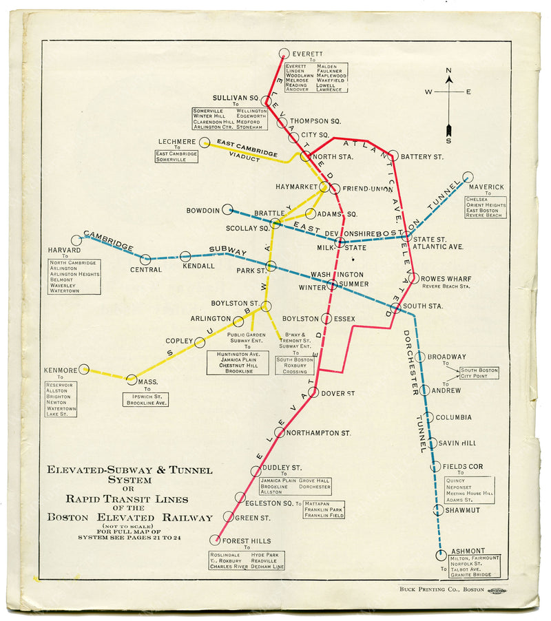 Boston Elevated Railway Rapid Transit Lines 1930