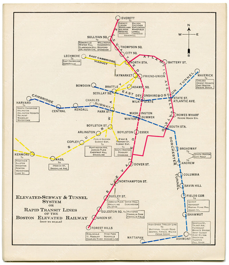 Boston Elevated Railway Rapid Transit Lines 1932