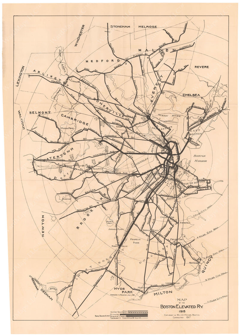 Boston Elevated Railway System Map 1917