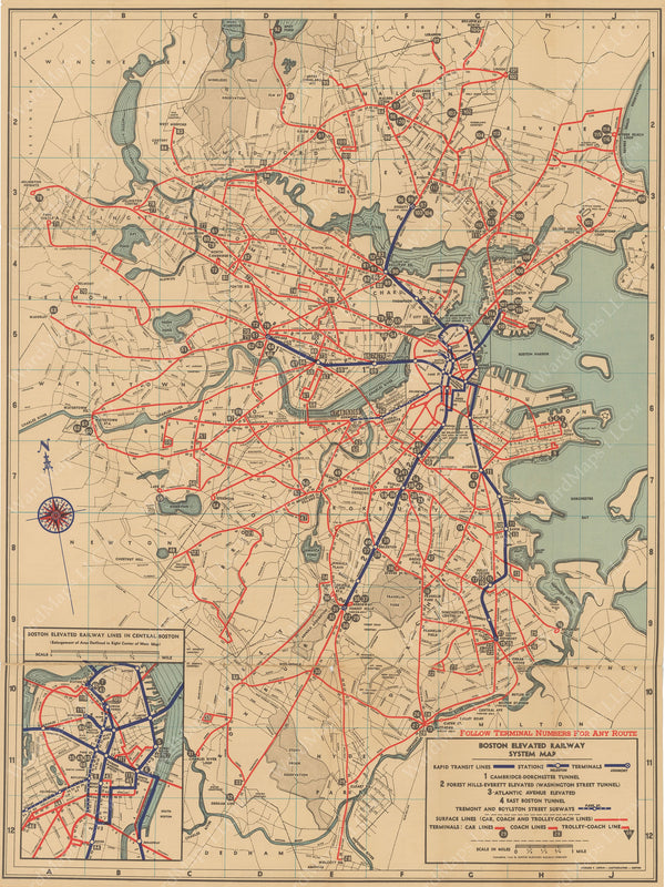 Boston Elevated Railway System Route Map 1936