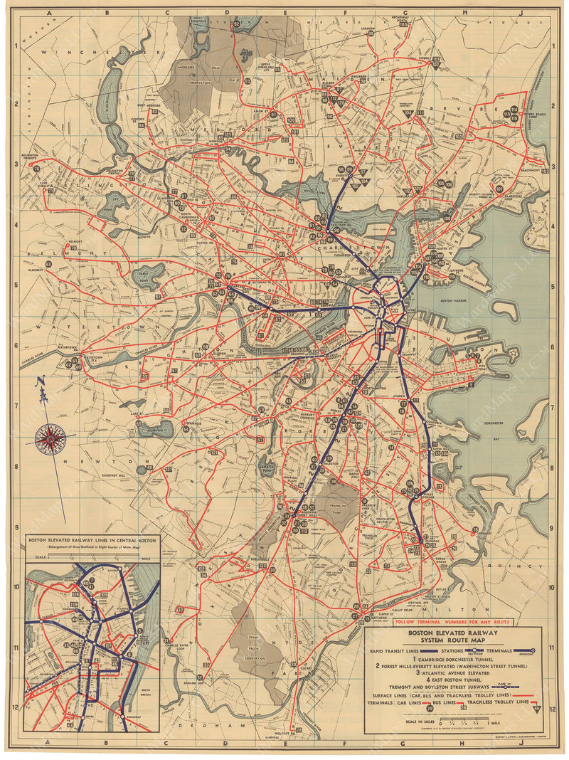 Boston Elevated Railway System Route Map 1937