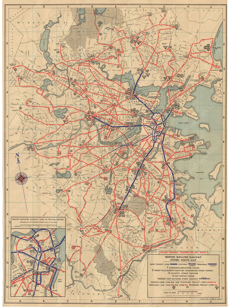 Boston Elevated Railway System Route Map 1938