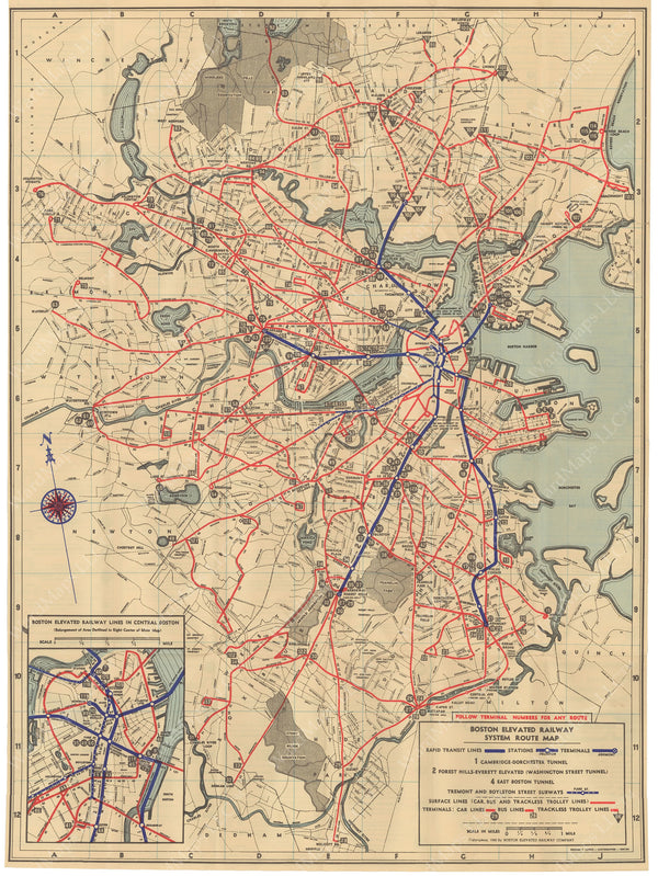 Boston Elevated Railway System Route Map 1940