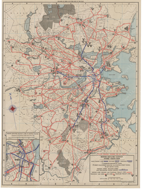 Boston Elevated Railway System Route Map 1943