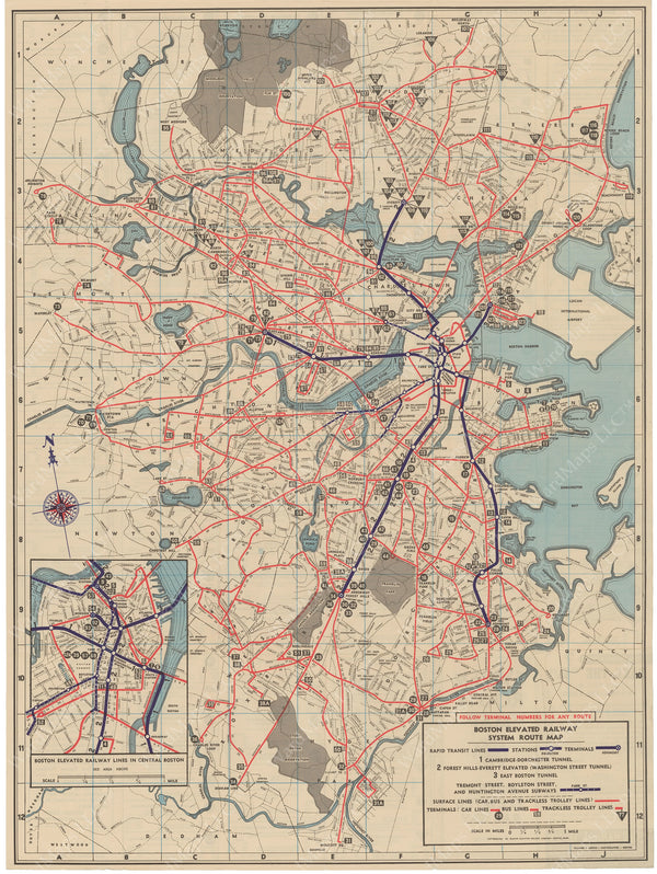 Boston Elevated Railway System Route Map 1946