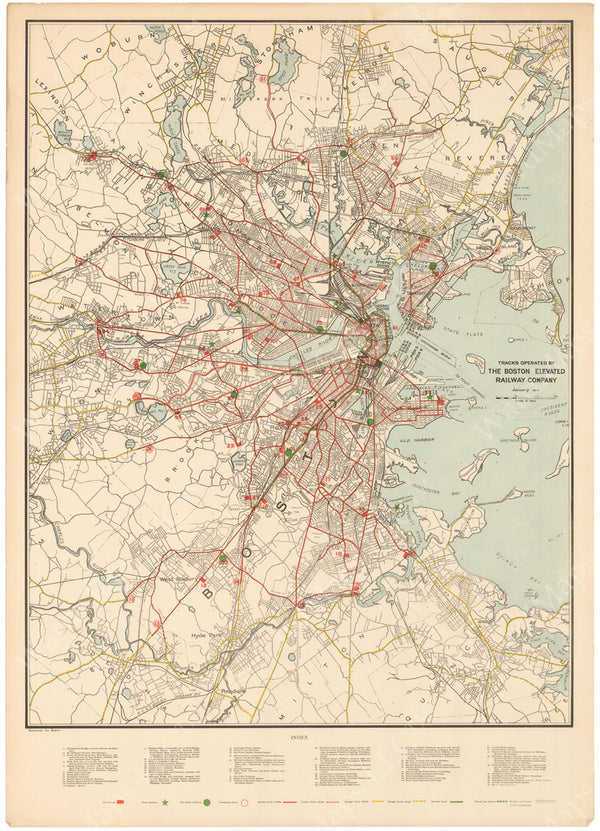 Boston Elevated Railway System Map 1916