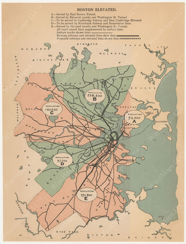 Boston Elevated Railway Population Map circa 1900