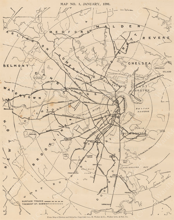 Boston's Streetcar Network, January 1, 1898