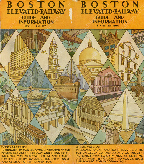 Boston Elevated Rawley Co. Guide and Information Cover, Sixth Ed., 1930